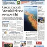 Grecia spaccata. Varoufakis: lascio se vincerà il sì - La prima pagina di Repubblica di oggi http://t.co/IY0lVoU1IW