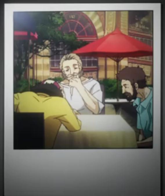 アニメ『血界戦線』第11話。ホワイトの撮影した写真のなかに気になるものがあり、映像を止めて確認してみたら…彼らは『カウボーイ・ビバップ』の名脇役、アントニオ、カルロス、ジョビンではないのか?! #kekkai_anime #血界戦線 http://t.co/hf0CShFuRZ