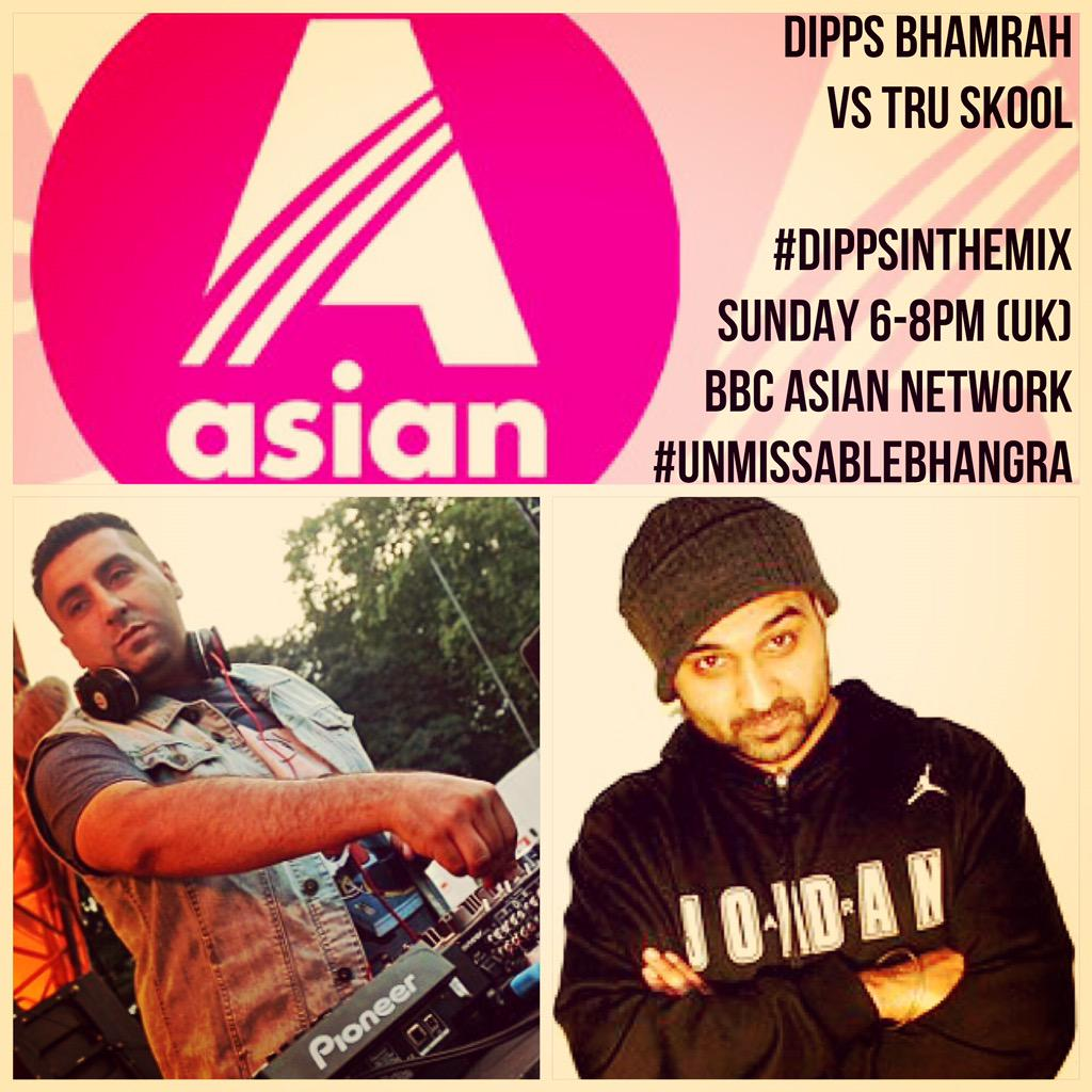 It's gonna down tonight on the #DippsBhamrahShow ... #DippsInTheMix vs @TruSkoolUK @bbcasiannetwork 6-8pm #Bhangra http://t.co/DrQDCuwBC4