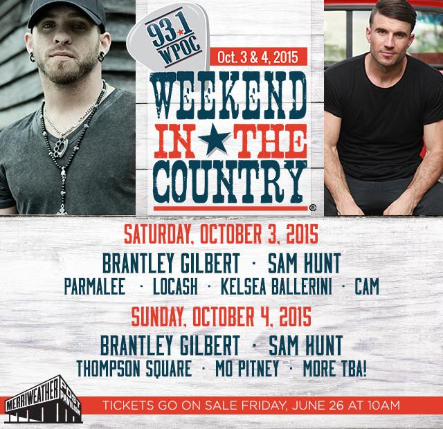 #WeekendInTheCountry lineup is HERE!! http://t.co/q1d8OxzV1k http://t.co/zTzgimwCJn
