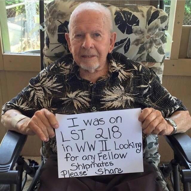 Saw this on FB - anyone out there know anyone from LST218 in WWII? This man is looking for shipmates still around http://t.co/M6xROsvyuV