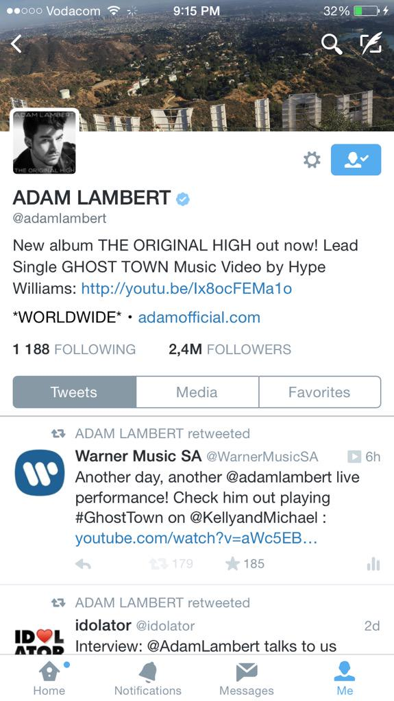 So... THIS just happened! @adamlambert retweeted a tweet off the @WarnerMusicSA account I'm managing! So excited! http://t.co/iPMWoeLiOe