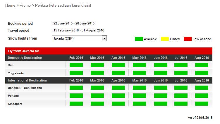 Sebelum TebakDestinasi, check dulu ketersediaan kursi AirAsiaBigSale di yuk!