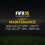 RT @EASPORTSFIFA: #FUT Maintenance beginning now. 11pm PT/7am UK. Downtime: 3hrs. http://t.co/tjAsGSCf23