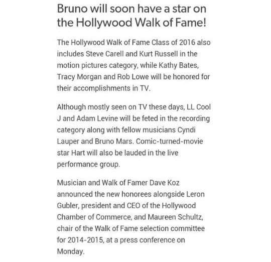 Walk of fame 2016. And @BrunoMars' name will be included!!! http://t.co/w0h0O0Jnar