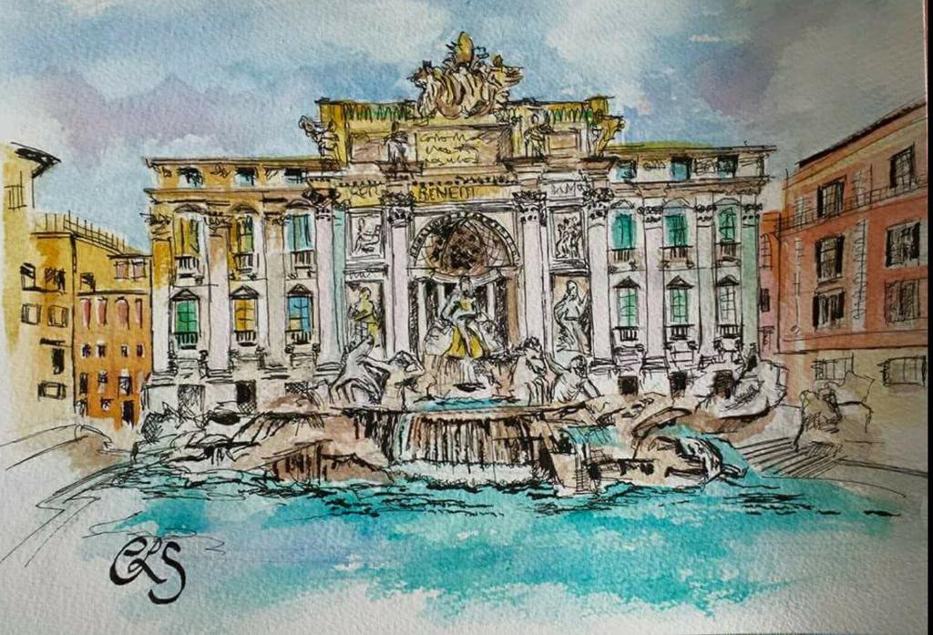 #trevi fountain #Rome #Italy Painted  by me #todaysdoodle #WishYouWereHere @cortonArt @ItalianArtMag @loveitalianlife http://t.co/WTQkqhWIb8