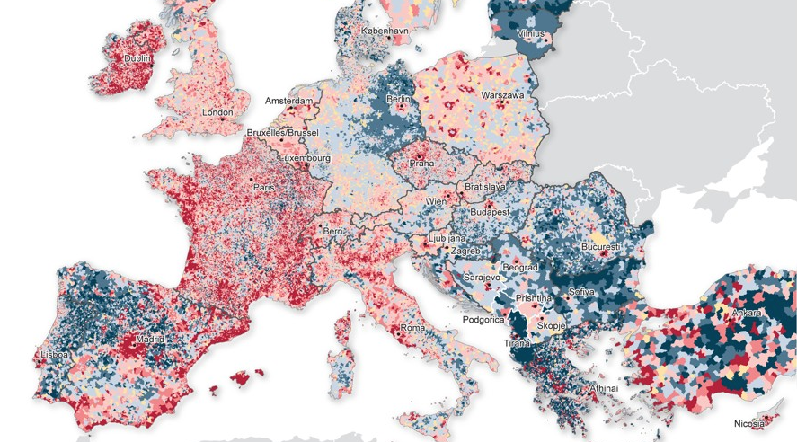 Impressive map of Europe's population shifts, from blue (fall) to red (growth): http://t.co/WeQ7PUhcpP http://t.co/BEcMxU0i6v