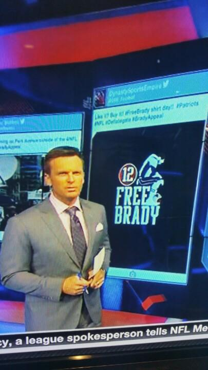 Our #freebrady shirt design was just on @NFLTotalAccess!! Thank you!! #nfl #Patriots #DeflateGate #BradyAppeal http://t.co/SRsdxkhE7I