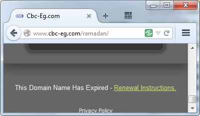 Hey @CBC_EGY, your domain name expired. At peak TV viewership time. Someone's gonna get a hurt real bad! http://t.co/KLwx4SWEH6