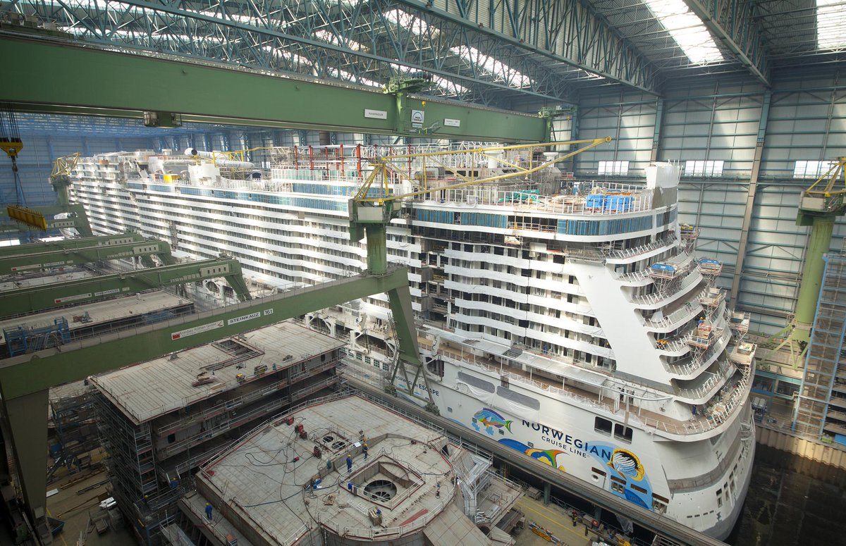 New photos from the shipyard! #NorwegianEscape is getting closer to her debut.  RT if you as excited as we are! http://t.co/VmwipMaztA