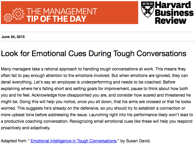 Our management tip of the day: Don't ignore emotions during tough conversations http://t.co/3iJpY1hYb7