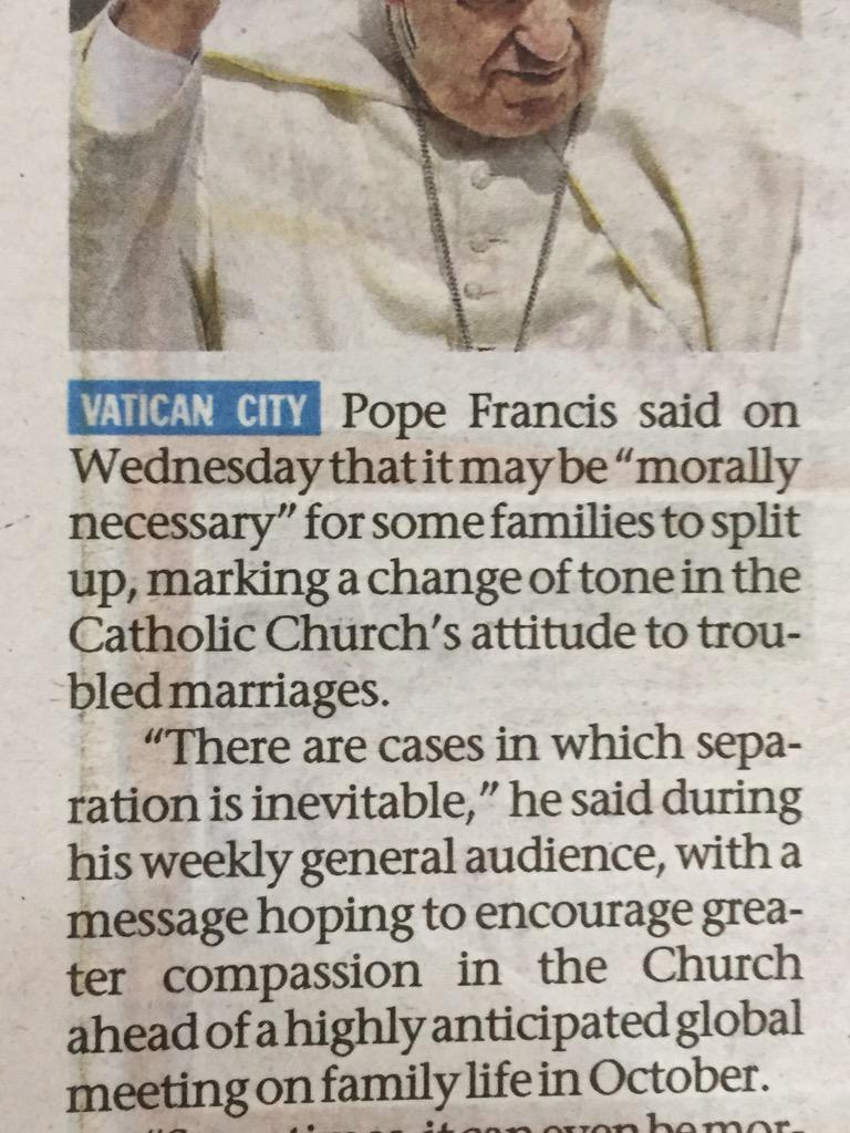 Troubled marriages.. Never thought Church/ Pope  would actually say this. Good one. http://t.co/TNPIFH8Yn5