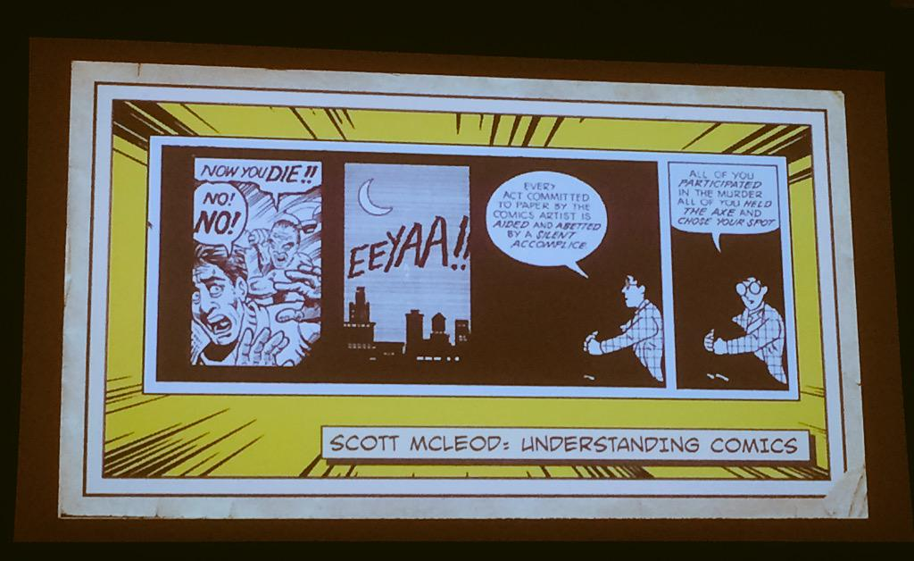Storytelling doesn't happen with the writer, it happens in your brain #atc2015 http://t.co/bfu5a2LKFj