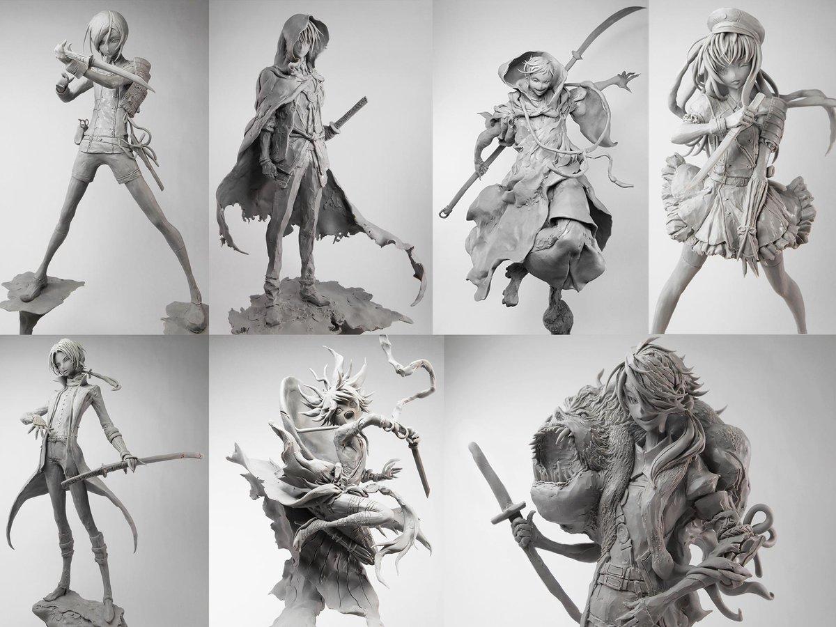 今まで造形した刀剣乱舞のキャラクターは14人でした。自分で思っていたより多かった。にっかり青江やへし切り長谷部は全身でも作ってみたいです。 http://t.co/3aFxIV3blW