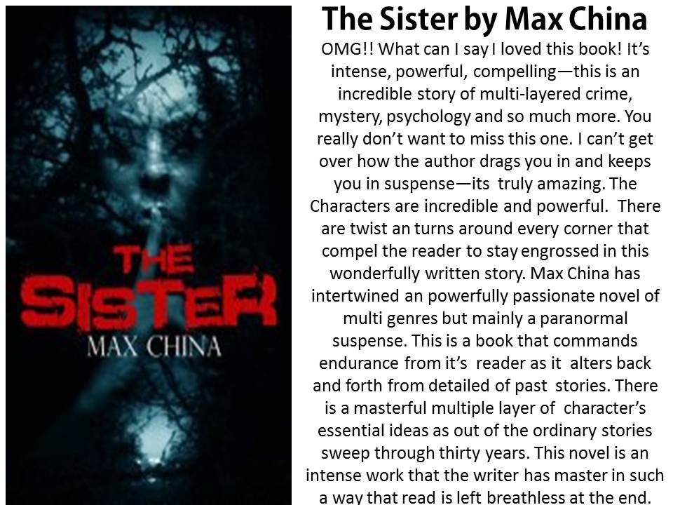 #IndieBooksBeSeen  New Review of The Sister by @MaxChina3 http://t.co/EbbDiTrUH3