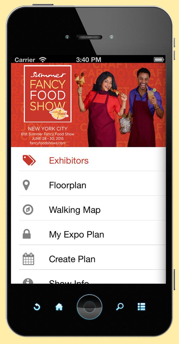 Access all exhibitors, the live blog & floor plan with the Fancy Food Show Mobile App #SFFS15 http://t.co/OPK3Igm4e7 http://t.co/MVDfMNsH28