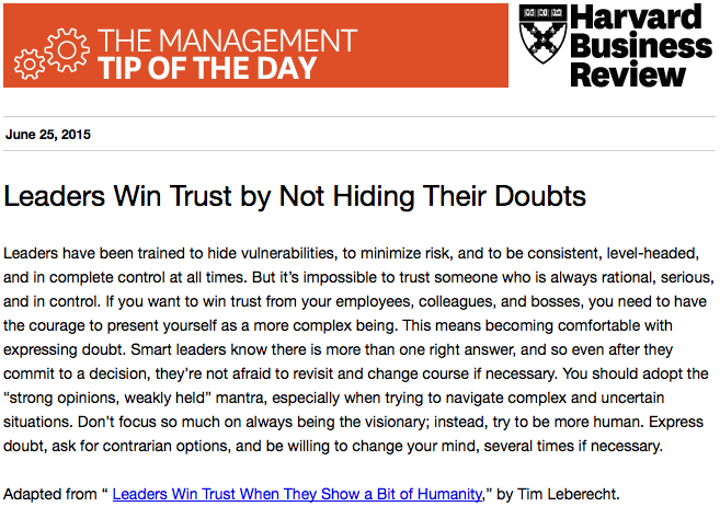 Our management tip of the day: Don't be afraid to express doubt http://t.co/j0KtX4dnrz