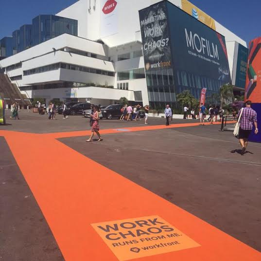 Workfront makes an impression at #CannesLions 2015! Almost a mile of #Workfront orange carpet. :) http://t.co/h5zPSfcH8T
