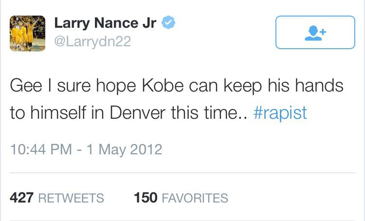 Seems the Lakers' new draft pick just deleted this old tweet from 2012. Probably a good idea. http://t.co/kC33QuIvPL