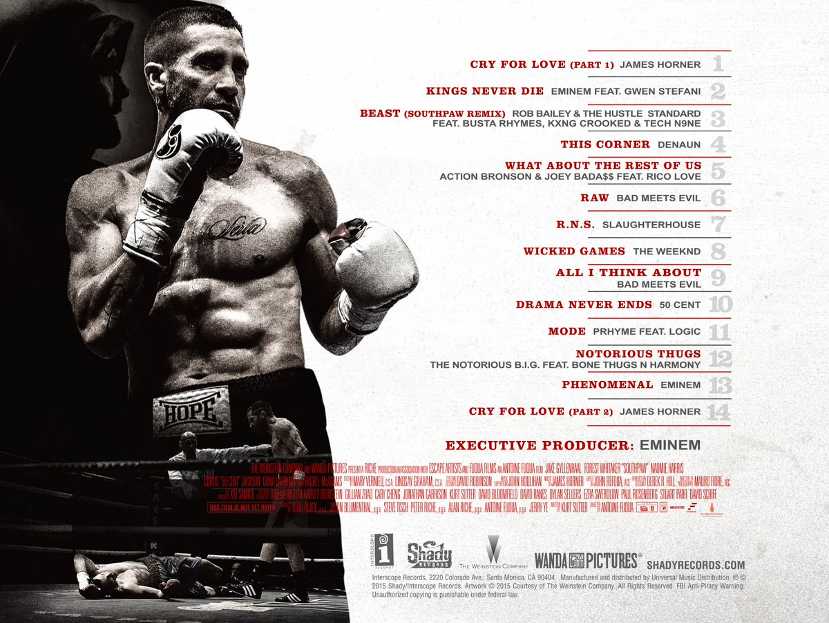 Official Tracklist for #Southpaw: Music From and Inspired by the Motion Picture.  Out 7.24.  http://t.co/W6vPxfNSAT http://t.co/h91RsSWSe1