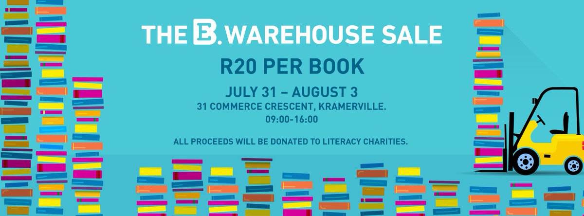 The Exclusive Books Warehouse Sale will take place from 31 July - 03 August! Only R20 a book! #WarehouseSale http://t.co/fSjf9XMShT