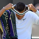 The official Wimbledon headband is too colorful for Wimbledon. Nick Kyrgios was forced to turn it inside out. Really. http://t.co/XY6zNV2aeu