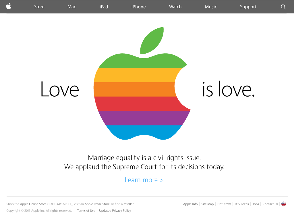 A proposal for the http://t.co/QXz28ygJjh homepage today. If there's any time to reprise the rainbow Apple, it's now. http://t.co/tkIRUwHSDS