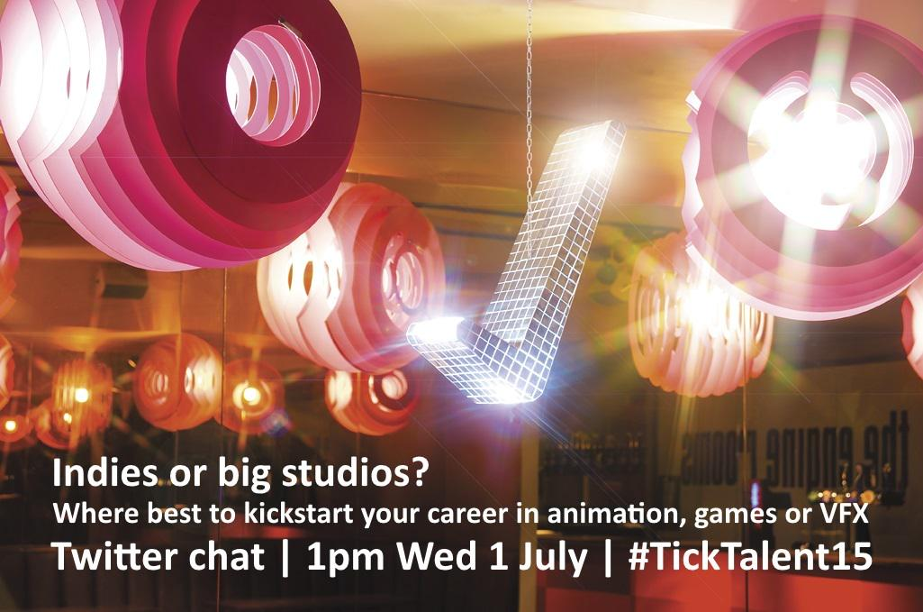 Indies or big studios? Where best to start your career in animation, games or VFX Join us: 1pm Wed #TickTalent15 http://t.co/2WpkQX5Zy4