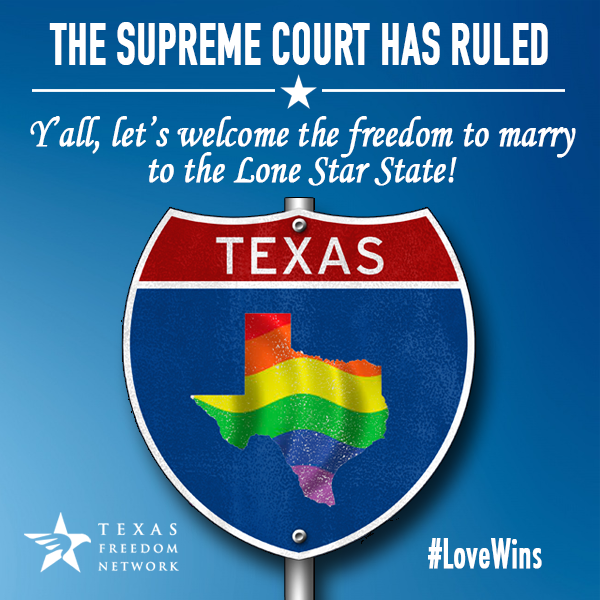 It happened! #SCOTUS has ruled and the freedom to marry has come to TX. Retweet to celebrate this victory! #LoveWins http://t.co/bBfOtdA88M