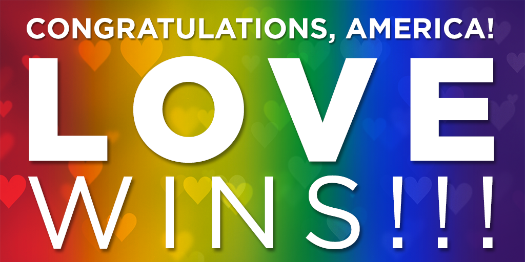 Congratulations, America. #SameSexMarriage #LoveWins #Equality #Victory #SCOTUS #SCOTUSMarriage http://t.co/mG08P17HrZ