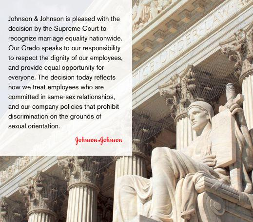 #JNJ supports the #SCOTUS decision for #MarriageEquality in the U.S.: http://t.co/umVpQ6XPI5 http://t.co/0N06T9km5h