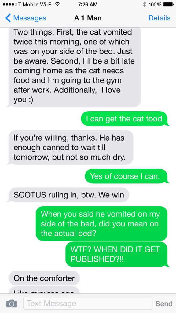 This text exchange from @dthomasg about what marriage equality really looks like won the internet today.  http://t.co/TFcgYXT5rl