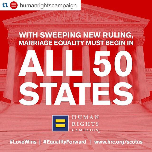 #Repost w/ @humanrightscampaign • #LoveWins: #MarriageEquality must begin in all 50 states. #LGBT #Equality #Forward http://t.co/QdIJdl5xWp