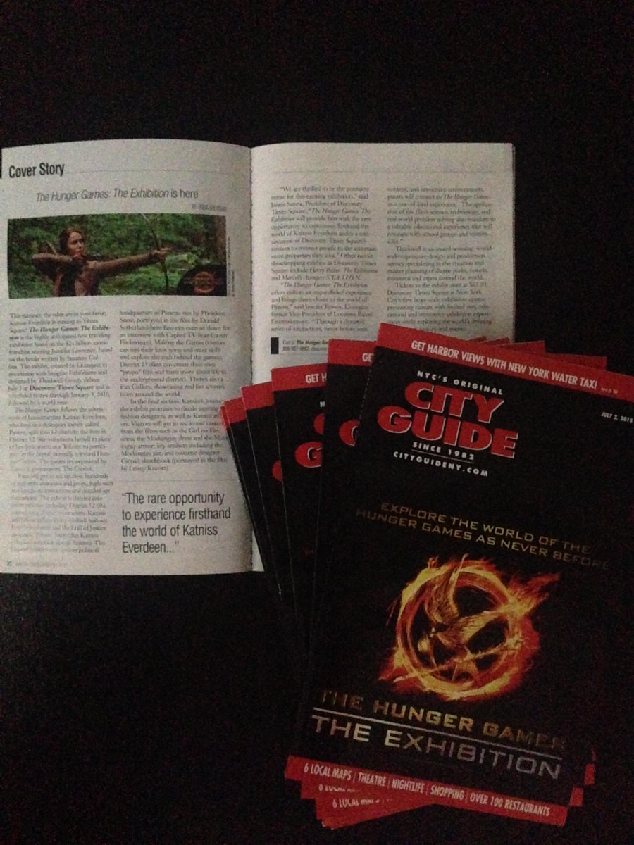 SNEAK PEEK! Out July 2: The #HungerGamesExhibition on the cover of @cityguidenyc ! http://t.co/ZPeBTUOJAE http://t.co/EczSNhcB2k