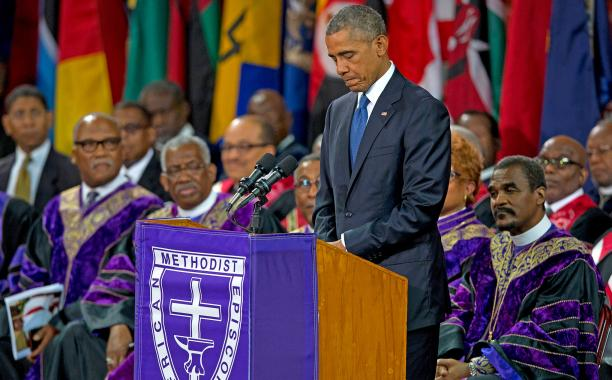Barack Obama sings 'Amazing Grace' during funeral for Reverend Clementa Pinckney: