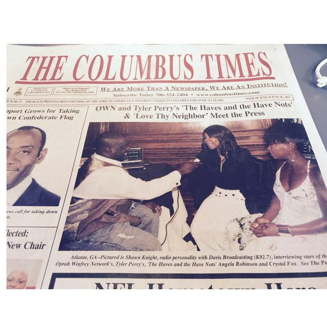 Thanks @ColumbusTimes1 for the front pg love w/ @Angelarobschild & @Only1CrystalFox @tylerperry #HAHN 06/30 @OWNTV http://t.co/MATBCJCwlc