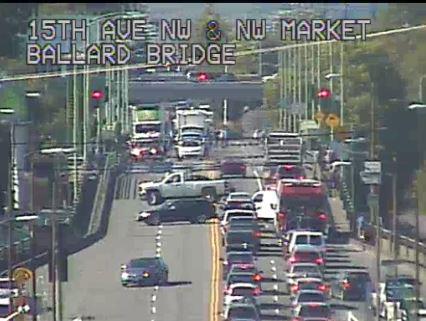 Carmageddon has begun in Seattle. RT @seattledot: The Ballard Bridge is stuck, use alternate routes http://t.co/rwHXrAnrwn