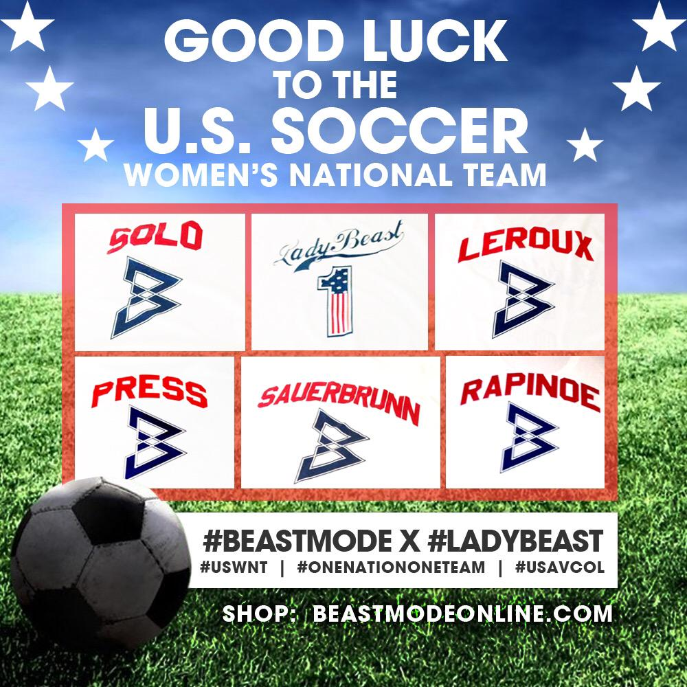 Love how @moneylynch gifted the entire @ussoccer_wnt with #LadyBeast @beastmodestore shirts!! http://t.co/qTwMi5KvZq