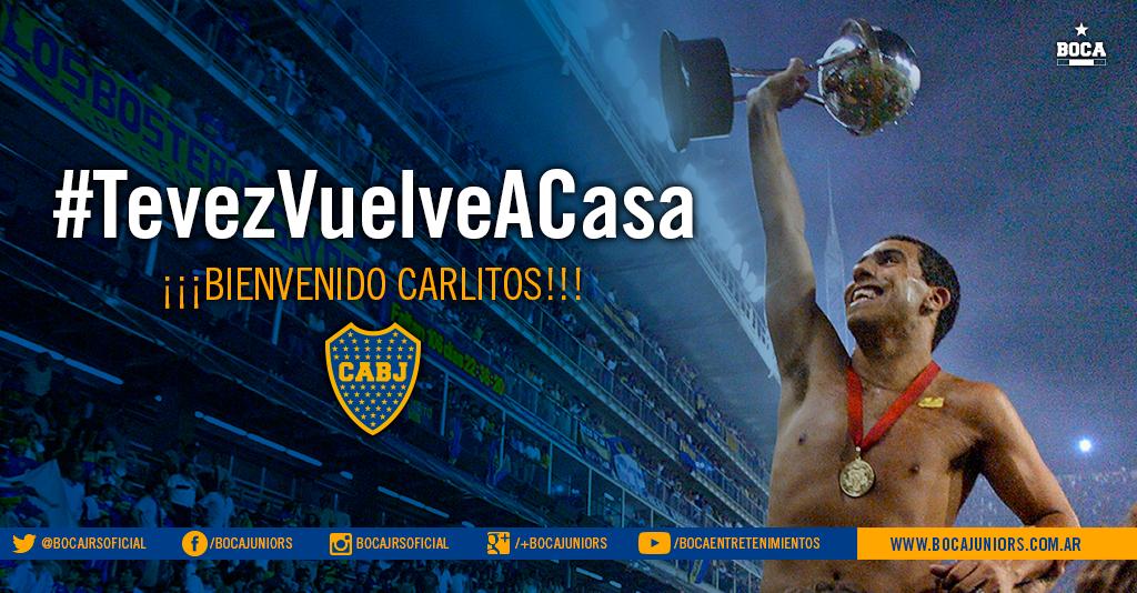 #TevezVuelveACasa Ya es una realidad. Es oficial: Carlos Tevez (@carlitos3210) vuelve a #Boca. http://t.co/5XHC79yBbF