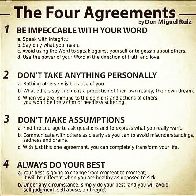 Lets all get familiar with the #FourAgreements by #donmiguelruiz !!
