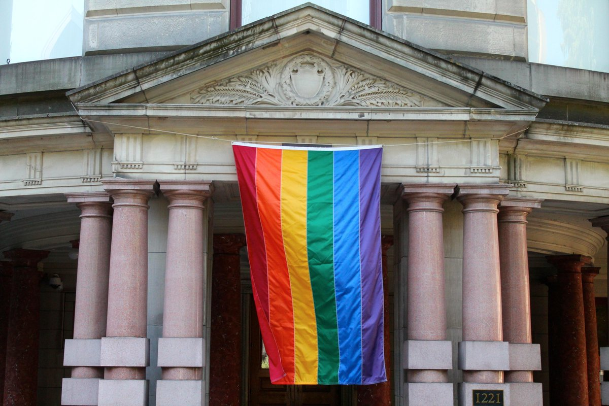 Spotted: Just blocks away from the PSU campus, a new flag flies over Portland City Hall. Yes! #pdx #LoveWins #Pride http://t.co/0rJTF1W2qd
