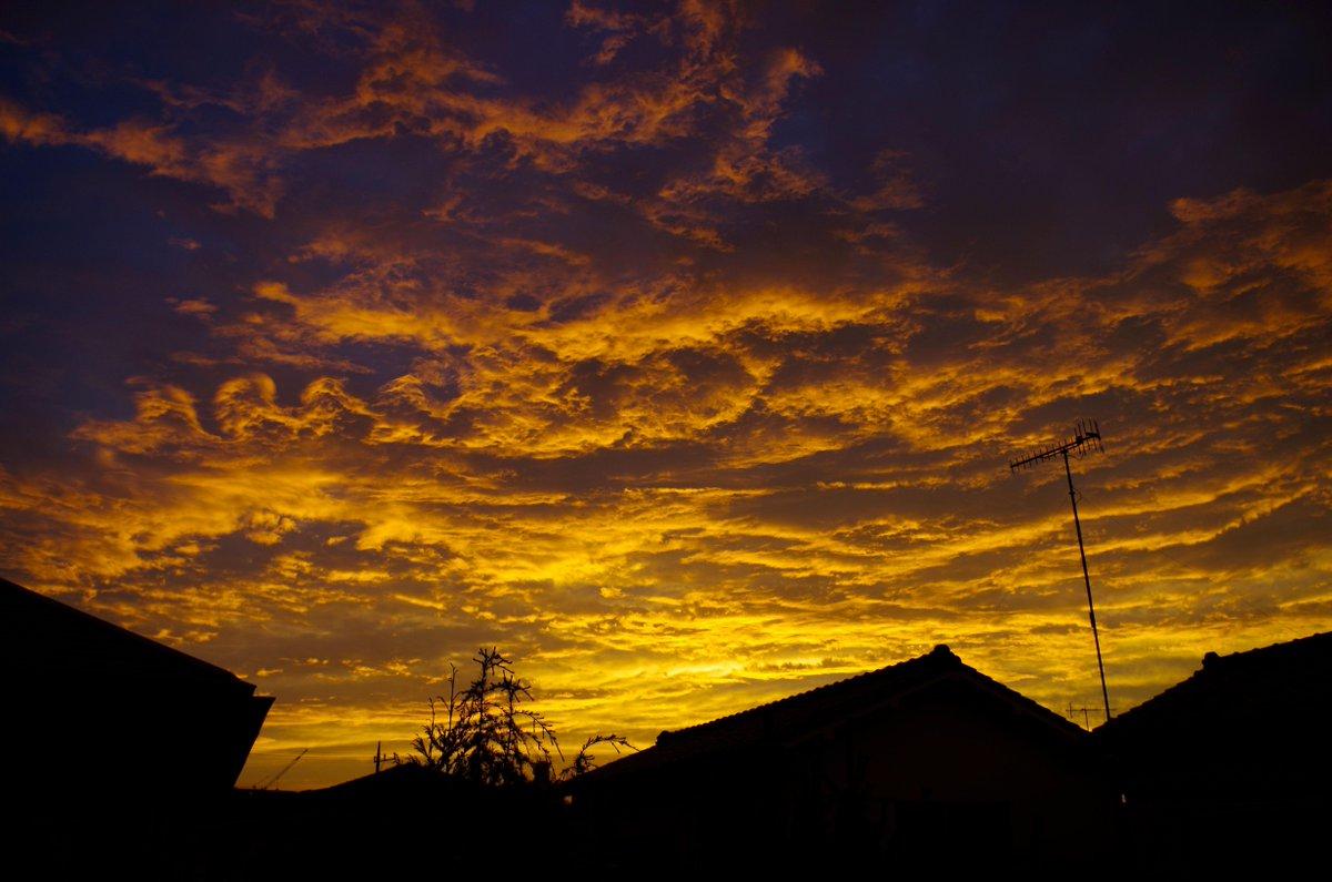 今さっきの夕焼け空。なんかこう、地球じゃないどこか別の惑星の大気を見てる気分。 http://t.co/ZATM8s5GCs