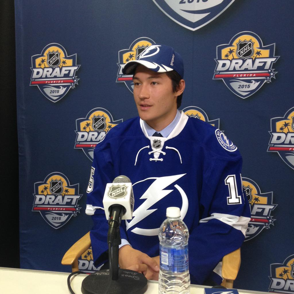 """Yan: """"#TBLightning was my favorite team, and I got drafted by them."""" #NHLDraft2015 http://t.co/oWik3MiNhq"""