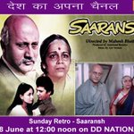 RT @DDNational: For all fans of @AnupamPkher Do tune in at 12 noon to watch #Saaransh in #SundayRetro directed by @MaheshNBhatt http://t.co…