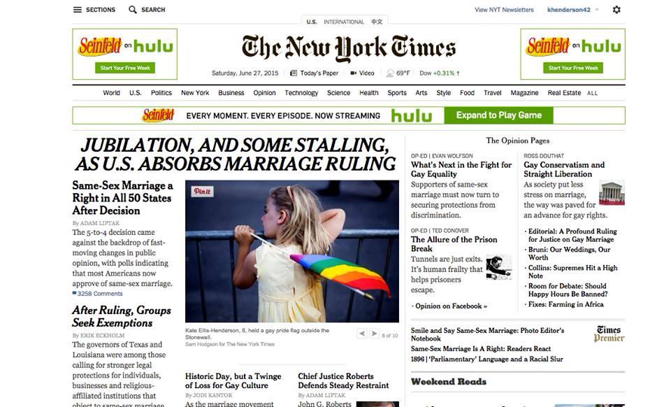 Kate makes the cover of the New York Times! #loverules #lovewins @glaad @sarahkateellis http://t.co/eD9hFV2jXK
