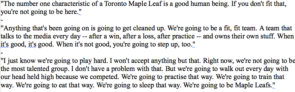 Some quotes from the Mike Babcock scrum. Read them, then tell me if you feel like running through a wall. #TMLTalk http://t.co/HB9WAwzMUu