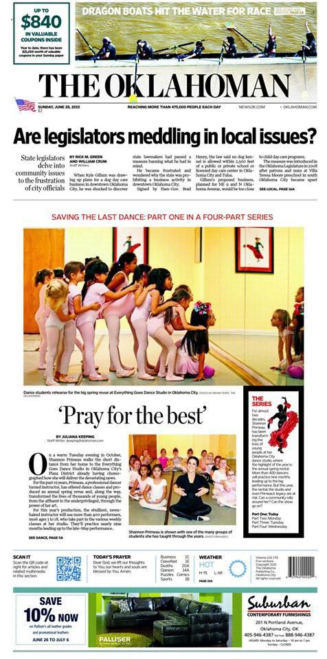 Be sure to check out part 1 of Saving The Last Dance in @TheOklahoman today! It's a 4-part series by @julianakeeping http://t.co/l2D0s3cCNC