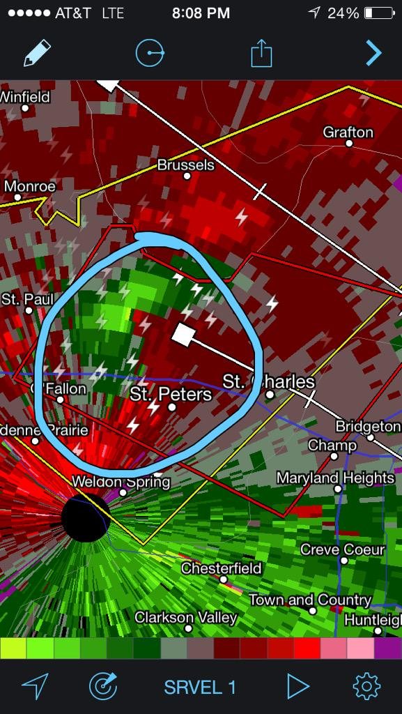 Bree Smith (@BreeSmithWx): CONFIRMED #TORNADO on the ground near St Peters moving East at 25 mph #ksdk #ksdkwx http://t.co/1qFMGME02z