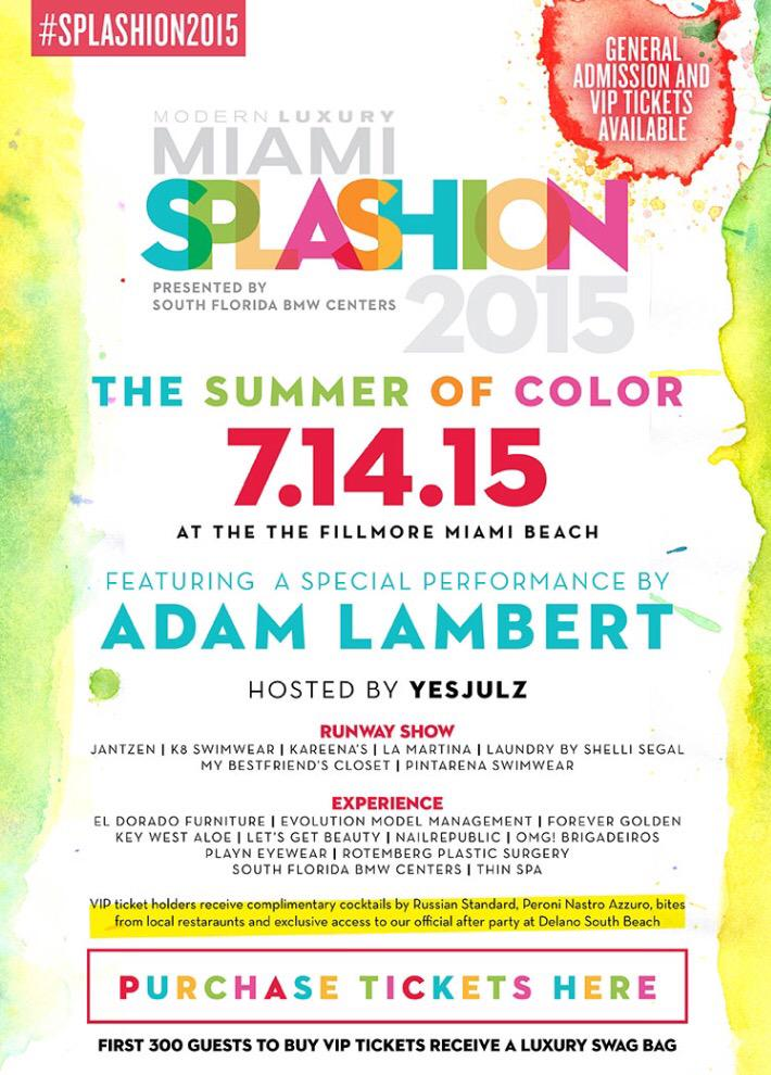 Be sure to buy your tickets for #SPLASHION2015 featuring a special performance by @adamlambert!http://t.co/0x4CnyENn2 http://t.co/QVaDFbGZWC