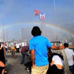 When police in Turkey used water cannons against the LGBT pride march, they accidentally created this rainbow ... http://t.co/RevOq7v9XW